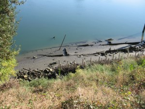Sunken ferry boat exposed by record low river levels in 2008. Photo credit: Kristina Crawford