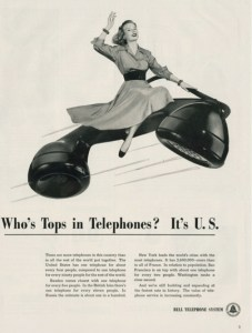 Bell Telephone ad from 1948 marketing Bell telephones with patriotism. Image source