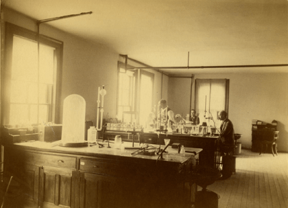 Chemistry Laboratory space, dated to 1892. Image courtesy of MSU Archives and Historical Collections.