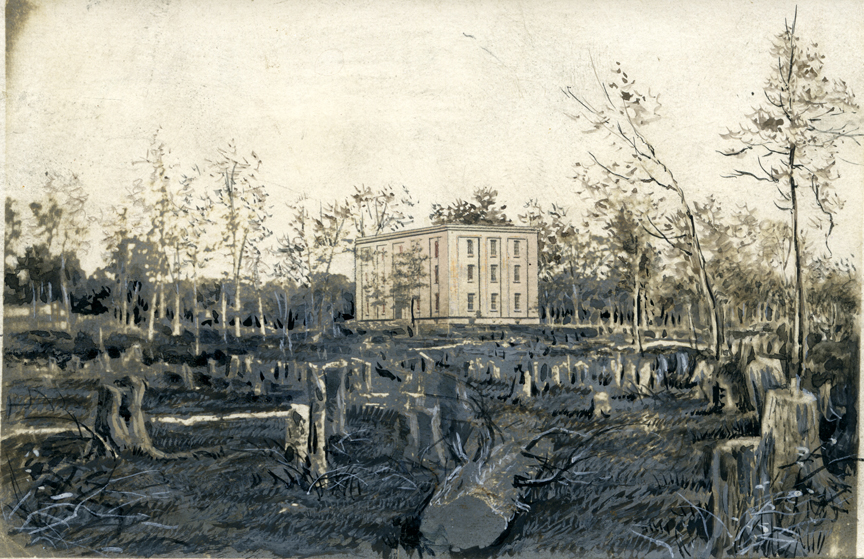 College Hall surrounded by tree stumps, dated to 1957. Image courtesy of MSU Archives and Historical Collections.