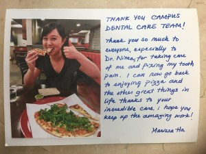 a thank you card from a client, Marissa Ha to everyone in the office for fixing her painful tooth