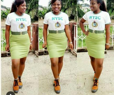 Female Corper Slays In Her NYSC Khaki Skirt (Photos)