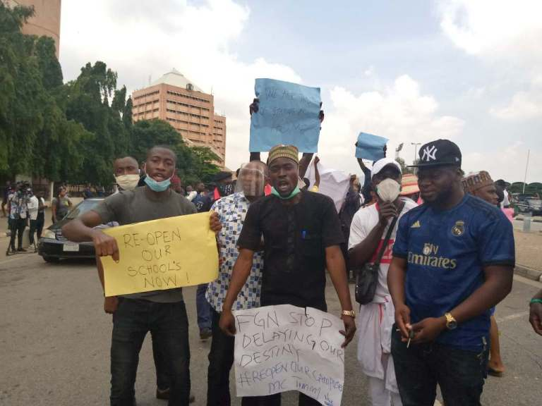Covid-19: Students protest closure of tertiary institutions