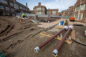 November 2018: East end pedestrian pathways begin to take shape north of Brookings Hall.