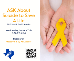 Flier with Hands presenting a yellow ribbon for suicide prevention