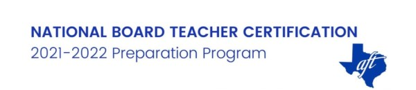 Texas AFT logo and text: National Board Certification