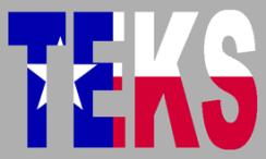 Texas red white blue flag fills in letters of T-E-K-S