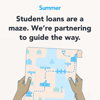 Graphic of two hands holding a map with dotted lines navigating through buildings. Text: Student loans are a maze. We're partnering to guide the way.