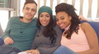Mitch, Loveita, and Sharry pose for BBCAN4