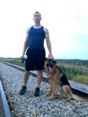 My host in Moose Jaw, Andrew, and his dog Caine