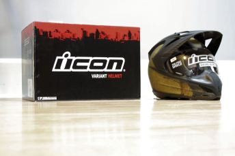 Icon's Variant helmet fit Zac very well. It wasn't too loud, either. Photo: Zac Kurylyk