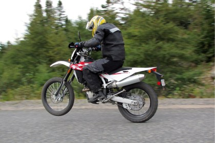 Of course, there are plenty of other ways to get in trouble. Even if you aren't speeding, you can get a ticket for anything from coasting downhill in neutral, or shifting gears as you cross a railway track, depending on which province you're riding in. And of course, The Man always disapproves of wheelies - even the small ones. Photo: Zac Kurylyk