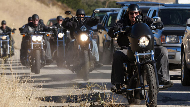 Most of the cast of SoA had to learn to ride, but Coates is the most safety conscious.