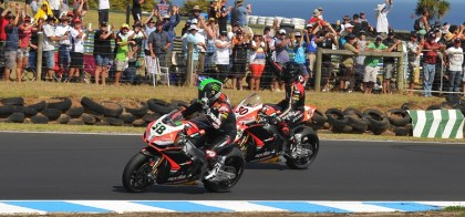 Eugene Laverty and Sylvain Guintoli swapped first and second places in the weekend's races, to leave them tied for first place with 45 points apiece. Photo: WSBK