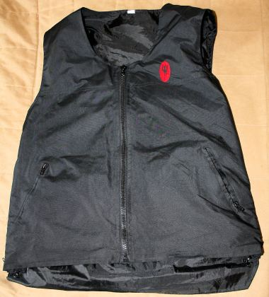 The vest's fabric is water-repellent, and also helps to cut the wind.