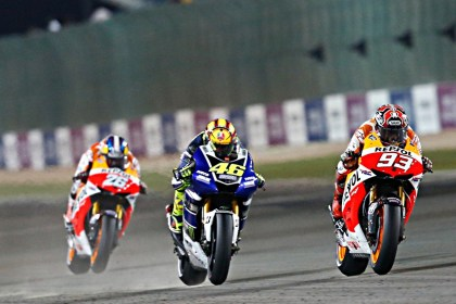 Valentino Rossi (46) and Marc Marquez (93) have been the focus so far this season, despite Lorenzo's dominance. That's Dani Pedrosa on the Honda in back. Photo: MotoGP