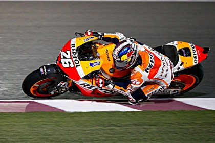 Dani Pedrosa couldn't use his Honda's power in the straights to overcome the better-handling Yamaha. Photo: MotoGP