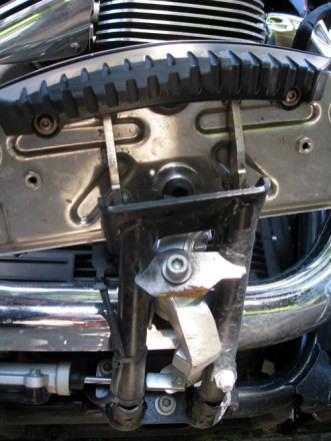 The Guzzi's floorboards started to take a beating as Rob pushed the bike through the corners.