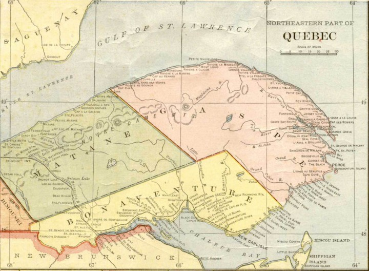 This looks like an up to date map of the Gaspesie, yes. See the green bit? That's where the Vernon and Harris expedition entered the jungle, hoping to find the northeast passage to Percé