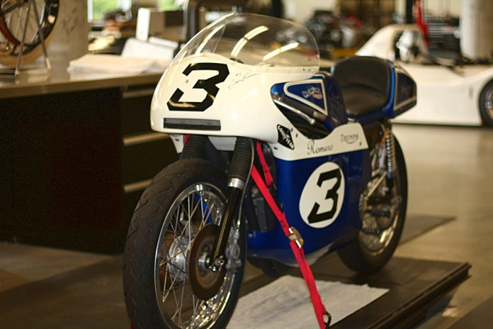 Gene Romero's Triumph sits in the Barber museum's shop. Photo: Zac Kurylyk