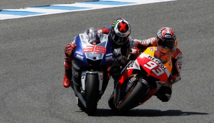 This move, with Marquez cutting inside on Lorenzo at the end of the race, was the talk of the weekend. Photo: MotoGP