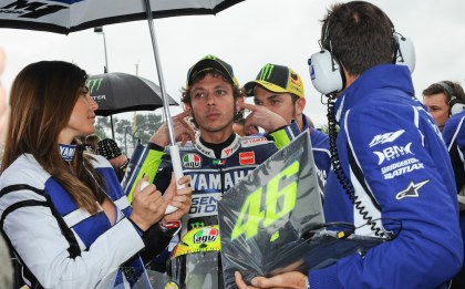 Rossi crashed out, bvut got restarted and finished in 12th. Photo: MotoGP