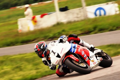 Christie hasn't earned a Pro Superbike race win yet, but he came close, while defending his #1 Pro Supersport plate. Photo: Rob MacLennan