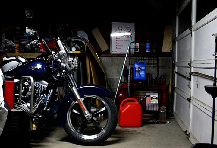 The Switchback, tucked away safely from the Amish Mafia in Tim's garage. Tim was the first ADVrider member I stayed with.