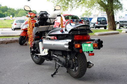 Scooterman's ride attracted plenty of viewers on Friday night.