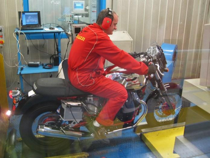 A Guzzi V7 gets a dyno run at the factory.