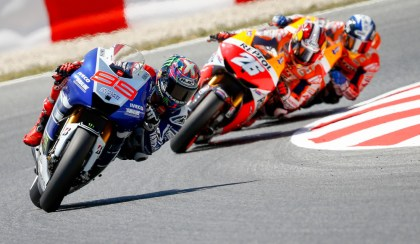 Lorenzo managed to fend off main rival Dani Pedrosa and take the win. Photo: MotoGP