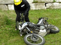 Warren practices picking his bike up, in preparation for his upcoming dual sport trip.