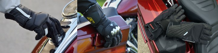 Scott SPV mesh gloves, Klim Element gloves, and Scott women's Rubis TP gloves