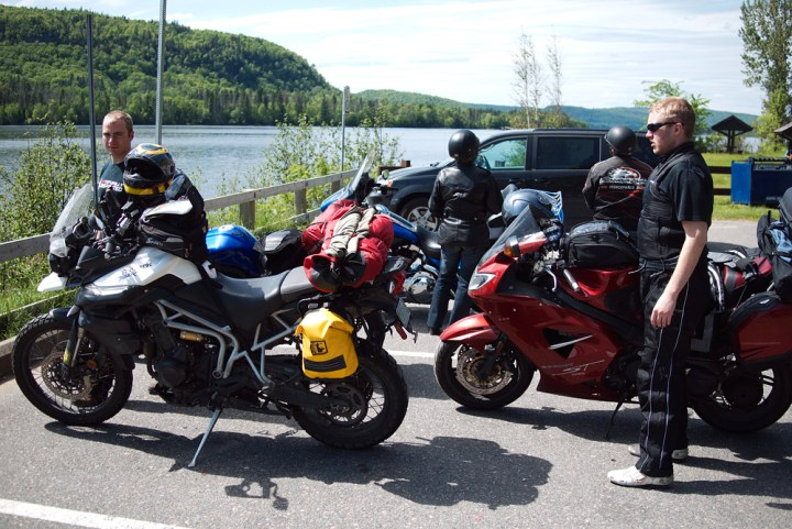 A group of motorcyclists takes a break before heading into La Mauricie. Photo: Mark Bock