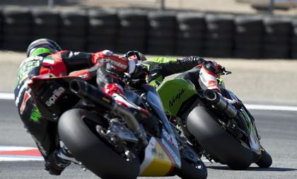 Eugene Laverty managed to eventually get his Aprilia past Tom Sykes in the weekend's second race, and take the win. Photo: Kawasaki Racing