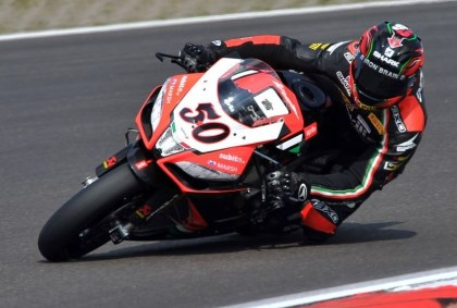 Sylvain Guintoli and Aprilia teammate Eugene Laverty switch podium spots in the weekend's races.