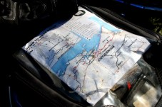 We had the route available on GPS files, but some riders opted for paper maps. Photo: Zac Kurylyk