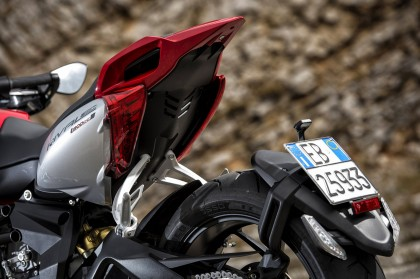 The rear taillight/plate holder assembly is ugly, but an upgrade is available from MV Agusta.