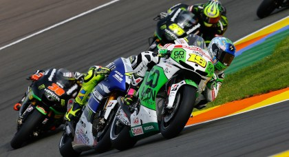 Alvaro Bautista finished behind Rossi, after battling him for fourth throughout the race.