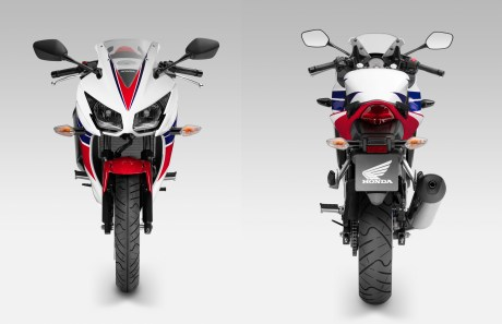 The CBR300's styling is more CBR1000, less VFR (which the CBR250 seemed to take styling cues from).