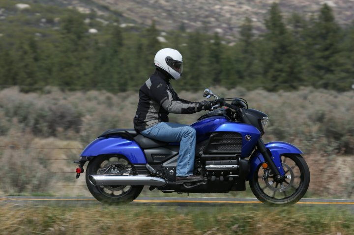 Wheel sizes are different from the standard Gold Wing, and the bike is longer, with more relaxed steering angle.