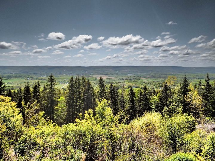 The rising hills on both sides of the Annapolis Valley make great views, and bring a micro-climate that benefits local farmers. Photo: Rob Harris