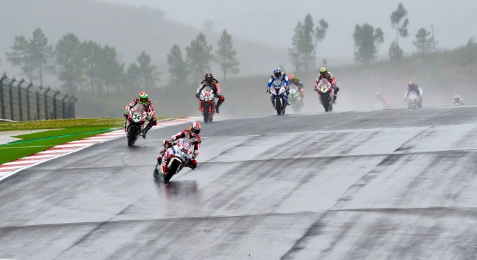 Rea's horsepower disadvantage wasn't a problem in the rain-soaked second race, and he pulled off an impressive win.
