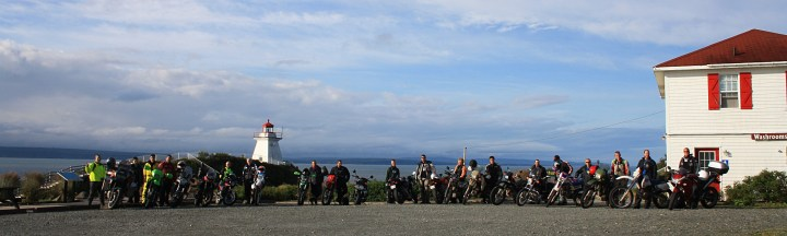 A motley crew at the group photo at Cape Enrage. Photo: Zac Kurylyk