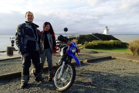 The D2D spirt! Alex and Alice rode all the way from Ontario on their 250s. Photo: Rob Harris