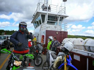 This KLX250 has both wheels on the ground, for once, during this ferry crossing. Photo: Ron Kierstead