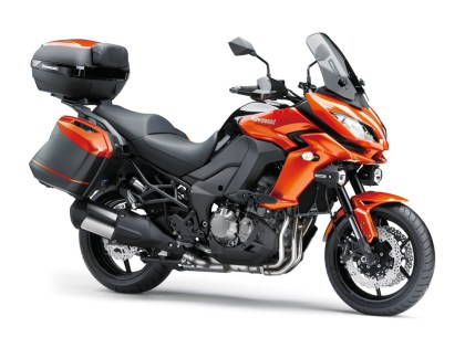 The 2015 Kawasaki Versys 1000 has an updated chassis for more luggage-hauling capability. It's pictured here with lots of optional accessories.