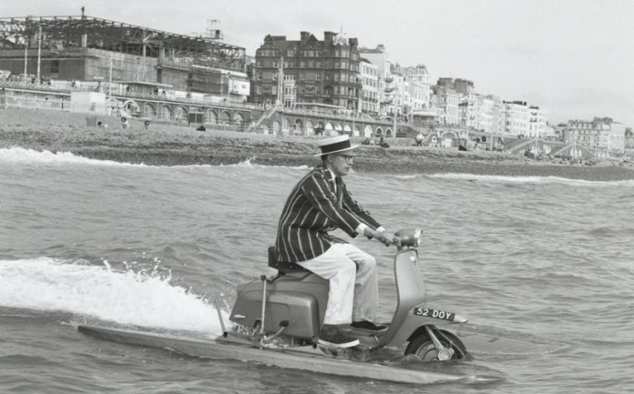 Yet another take on the personal watercraft theme, this time featuring a Lambretta. Quite a dapper-looking outfit, considering this venture was almost sure to end in a soaking.