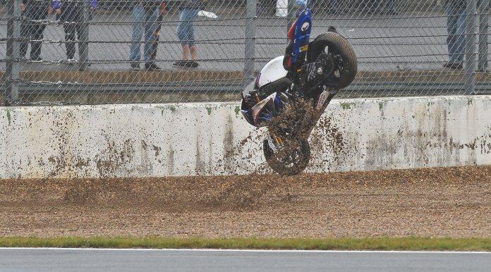 The rain turned the racing into a crash-fest.