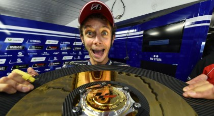 Rossi was over the moon after his win.
